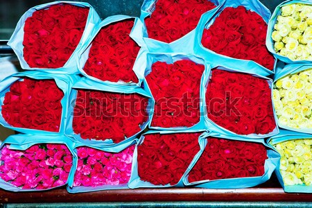 roses offered at the flower market early morning Stock photo © meinzahn