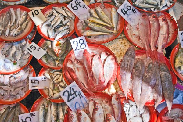 Friss hal piac család egészség jég Stock fotó © meinzahn