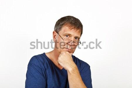 Stockfoto: Man · emotie · aantrekkelijk · denken · gezicht · ogen