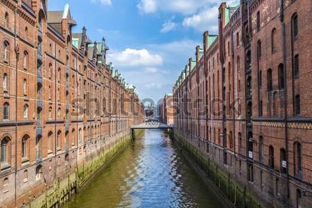 historic Speicherstadt made of old bricks Stock photo © meinzahn