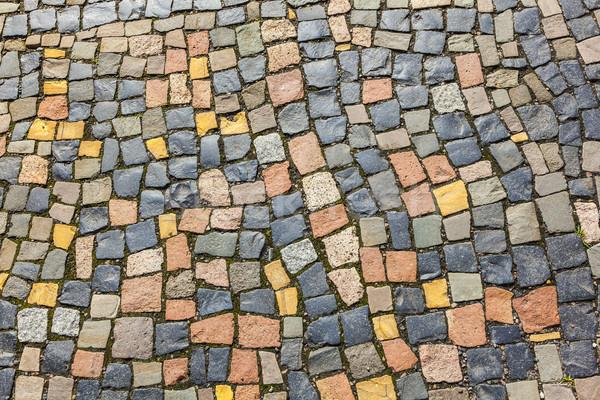 pattern of cobble stone at the sidewalk Stock photo © meinzahn