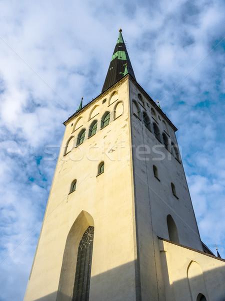 Kerk Tallinn Estland hemel huis Blauw Stockfoto © meinzahn