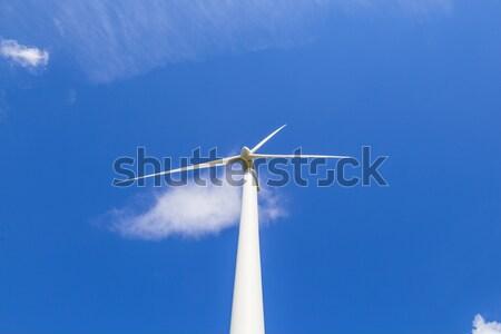 Rüzgâr jeneratör manzara mavi gökyüzü güneş doğa Stok fotoğraf © meinzahn