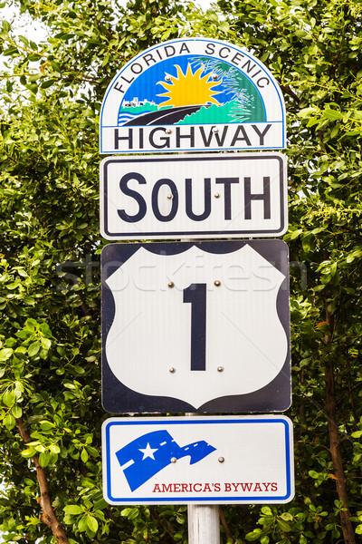 шоссе знак Флорида ключами пляж небе природы Сток-фото © meinzahn