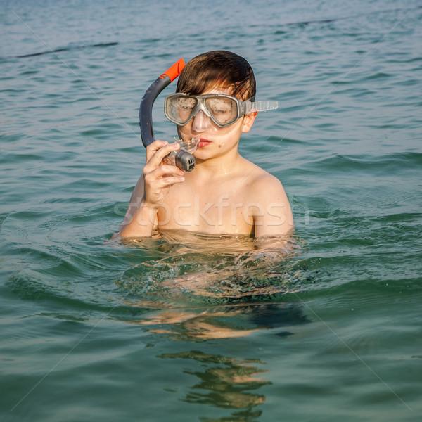 young boy enjoys diving Stock photo © meinzahn