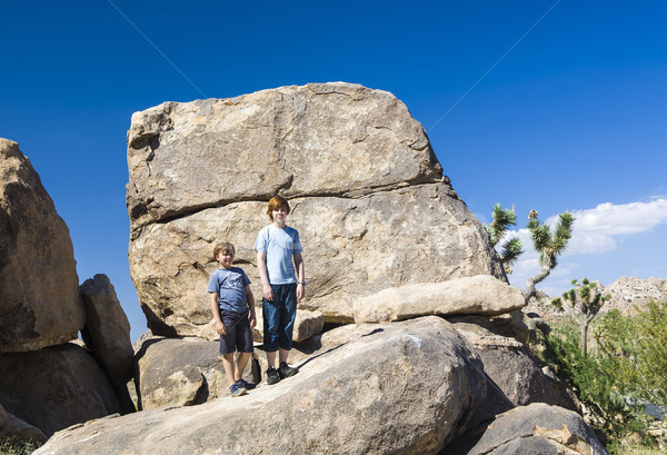brothers pose on a rock at yoshua tree national park near park b Stock photo © meinzahn