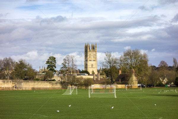 Oyun alanı küçük kilise kule kolej oxford üniversite Stok fotoğraf © meinzahn