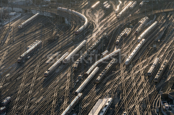 Stock photo: aerial of Frankfurt main station in sunset