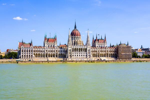 Famoso húngaro parlamento Budapeste paisagem azul Foto stock © meinzahn