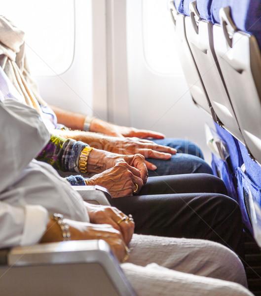 Kéz idős hölgy ül repülőgép naplemente Stock fotó © meinzahn
