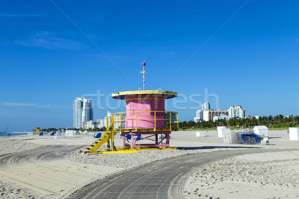 Ratownik kabiny pusty plaży Miami Florida Zdjęcia stock © meinzahn