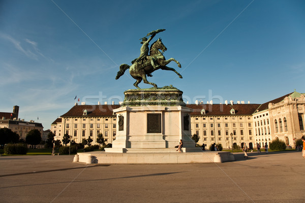 horse and rider statue of archduke Karl in vienna at the Heldenp Stock photo © meinzahn
