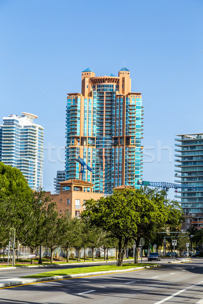 Palm trees and highrises in South Beach, Miami, Florida Stock photo © meinzahn