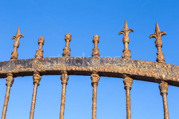 Stock photo: Decorative Steel Gate against blue sky