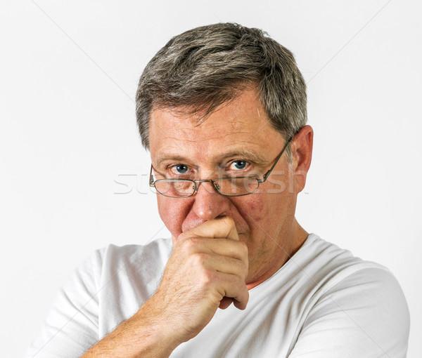 man in thinking gesture Stock photo © meinzahn