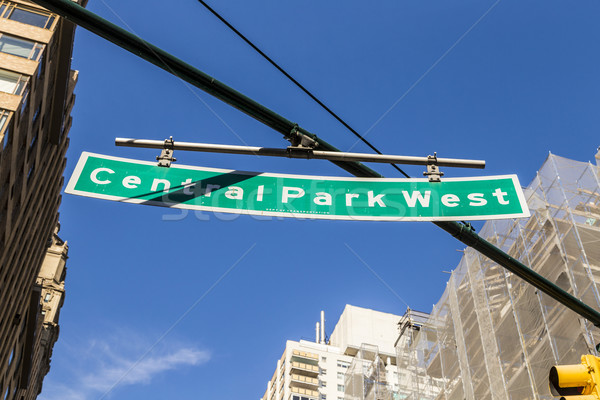 street sign suspended above Central Park West in New York City Stock photo © meinzahn
