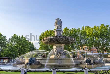 La fontein rotonde water straat leeuw Stockfoto © meinzahn