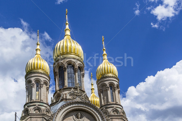 famous russian orthodox church with golden copula Stock photo © meinzahn