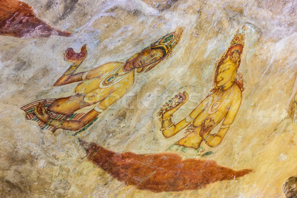 Ancient famous wall paintings (frescoes) at Sigirya Sri Lanka Stock photo © meinzahn