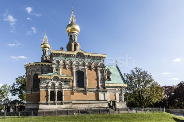 Ortodossa chiesa cielo blu blu fuori Foto d'archivio © meinzahn