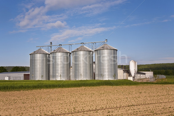 silver shining silo with acre in landscape Stock photo © meinzahn