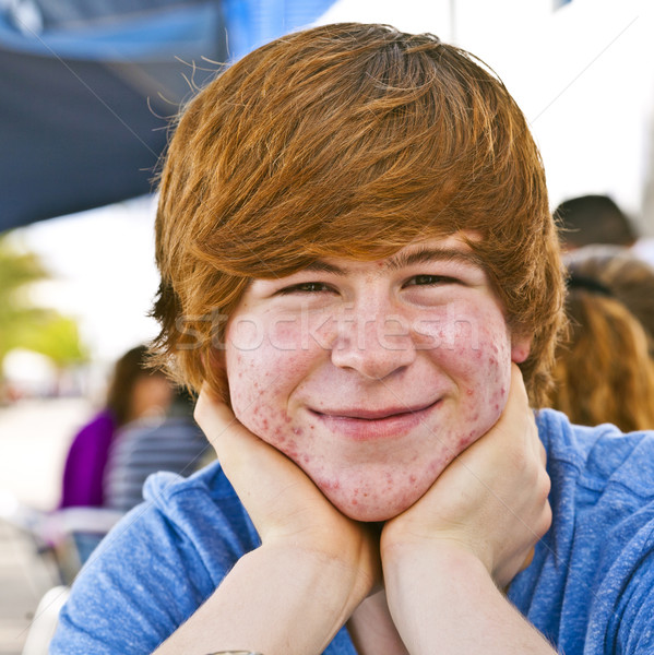 outdoor portrait of relaxed cute young boy   Stock photo © meinzahn