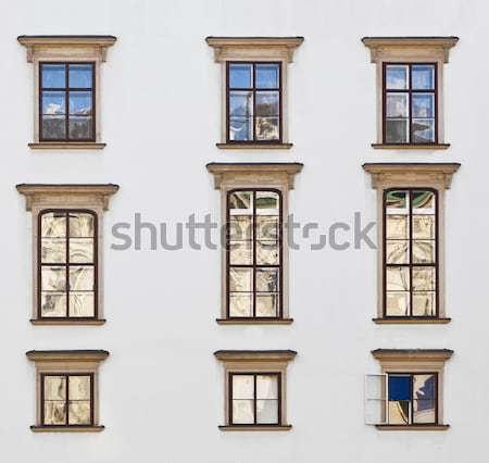 Homlokzat öreg tégla épület város fal Stock fotó © meinzahn