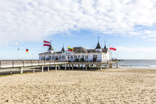 Pier and Beach of Ahlbeck at baltic Sea on Usedom Island Stock photo © meinzahn
