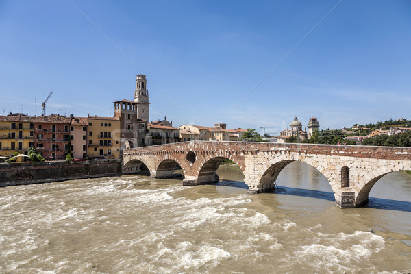 Beautiful view of old houses and river in Verona Stock photo © meinzahn