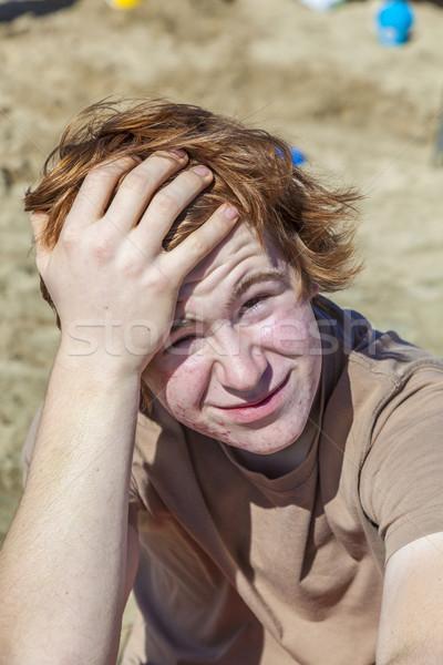 Plaj portre mutlu çocuk Stok fotoğraf © meinzahn