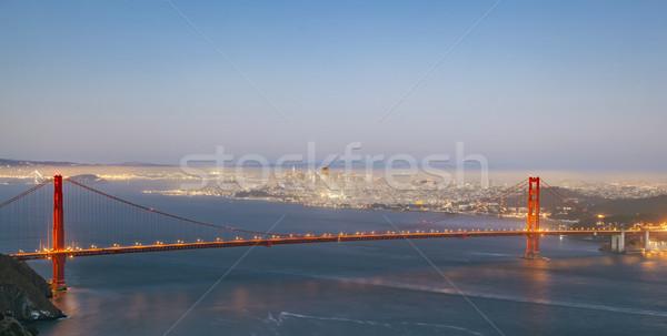 Golden Gate Bridge noite luz noite ver famoso Foto stock © meinzahn