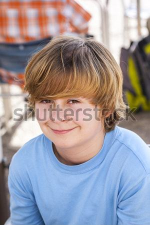 Erkek gülen yüz eğlence ağız portre Stok fotoğraf © meinzahn