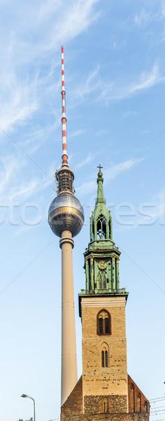 Fernsegtower Alex in Berlin with St. Marys church  Stock photo © meinzahn