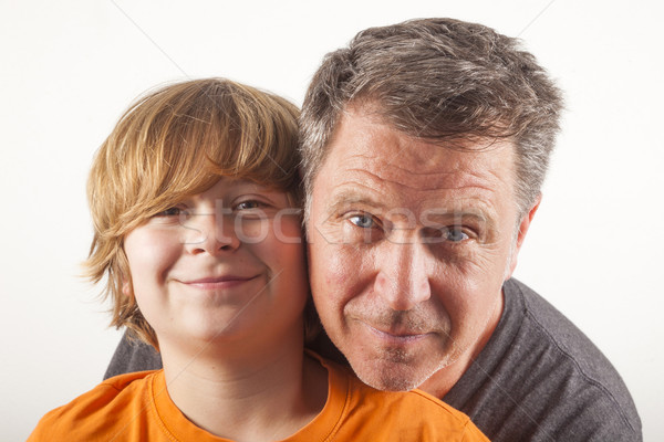 father and happy son hugging Stock photo © meinzahn