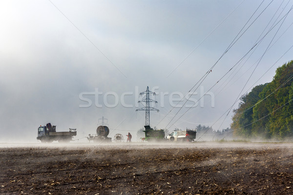 electricity pylon is build up at the field  Stock photo © meinzahn