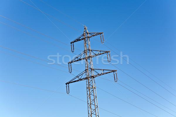электроэнергии высокое напряжение башни Blue Sky строительство природы Сток-фото © meinzahn