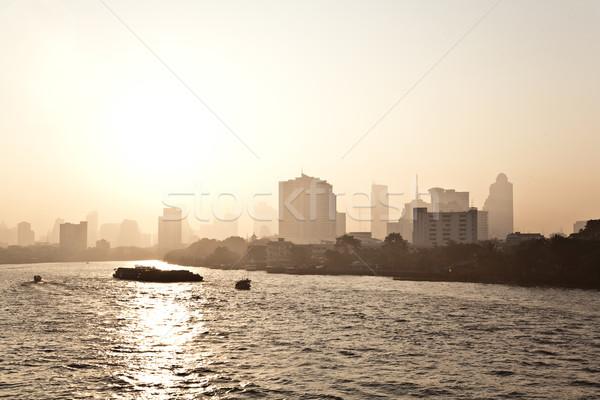 Bangkok fiume sunrise transporti traghetto Foto d'archivio © meinzahn