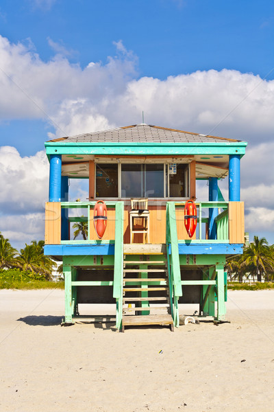 Stok fotoğraf: Güney · plaj · Miami · cankurtaran · kule · su