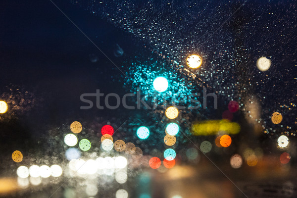 pattern of color in the windscreen of a car by night Stock photo © meinzahn