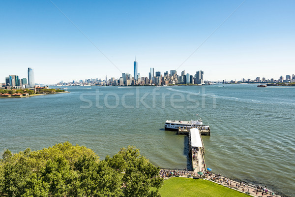 scenic view from Ellis Island to downtown New York Stock photo © meinzahn