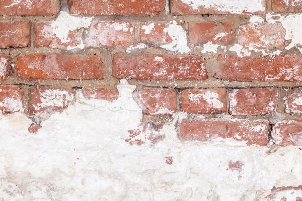 öreg tégla pince fal fehér tapasz Stock fotó © meinzahn