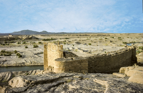 Oude historisch rot slot woestijn wereld Stockfoto © meinzahn