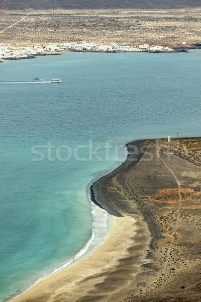 View of the island La Graciosa with the town Caleta de Sebo Stock photo © meinzahn