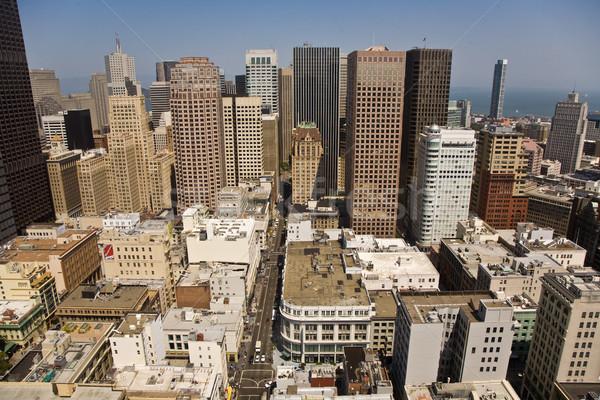 Skyline of San Francisco seen from a sky scraper with blue sky Stock photo © meinzahn
