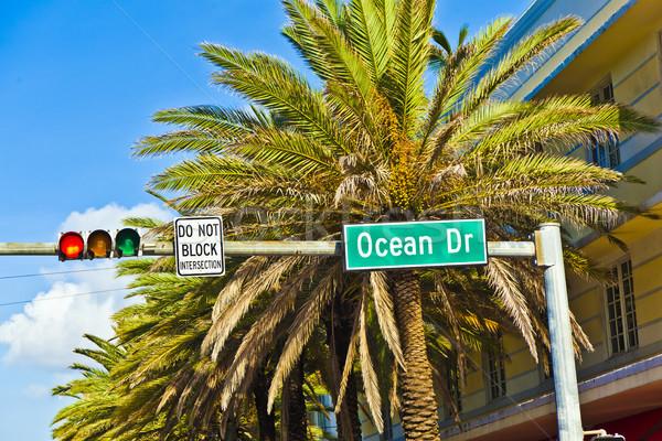 Stock fotó: Jelzőtábla · híres · utca · óceán · Miami · dél