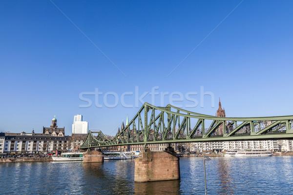 Ferro ponte Francoforte sul Meno principale pomeriggio cielo Foto d'archivio © meinzahn