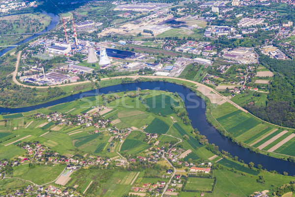 aerial of landscape and power plant in Krakow Stock photo © meinzahn
