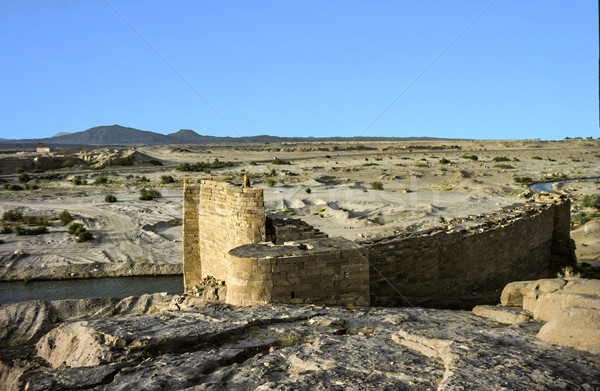 Oude historisch rot slot woestijn natuur Stockfoto © meinzahn