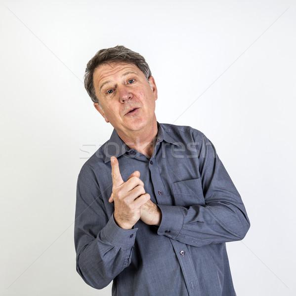 Naakt man schaduw boksen handen ogen Stockfoto © meinzahn