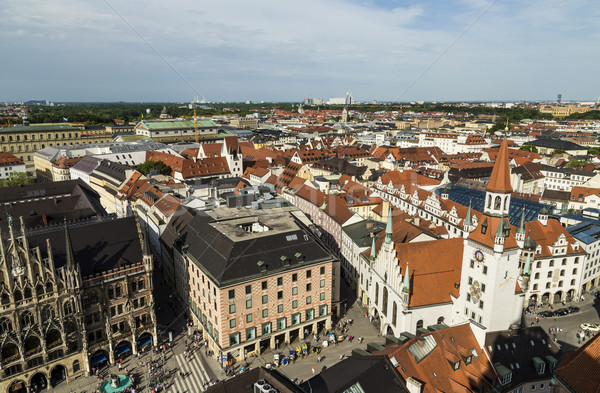 Beautiful super wide-angle sunny aerial view of Munich, Bavaria. Stock photo © meinzahn